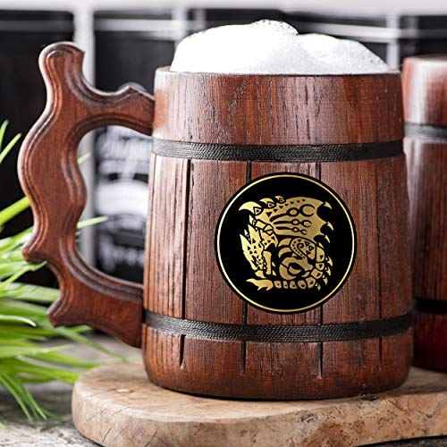 Monster Hunter World Rathalos Wooden Beer Mug. Personalized MHW Beer Mug. Gamer Mug. Monster Hunter Tankard. Gift For Him. Beer Stein Wood Gamer Gift. Gift For Husband #225/0.6L / 22 ounces
