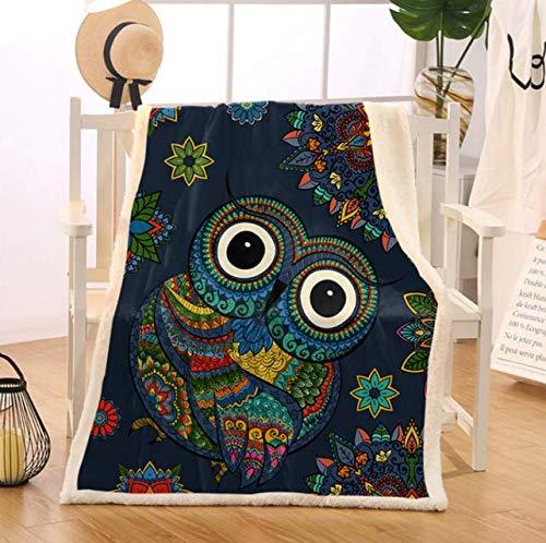 RKZM Eule Sherpa Decke Für Bett Bunte Vogel Weiche Decke Mandala Blume Plüsch Tagesdecken Cartoon Manta Dropship150X180Cm