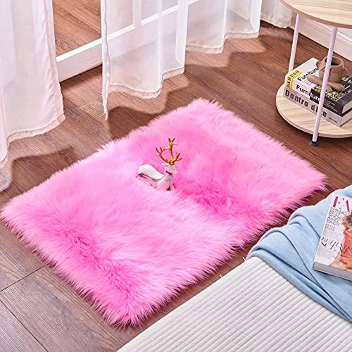 Cumay Piel de Imitación, Artificial Alfombra, excelente Piel sintética de Calidad Alfombra de Lana ,Adecuado para salón Dormitorio baño sofá Silla cojín (Rosa roja, 60 X 90 cm)