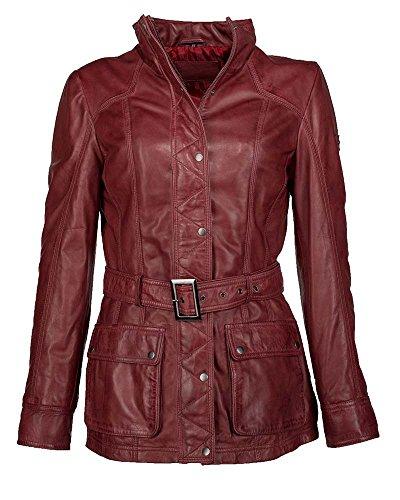 JCC Damen Lederjacke Mit Verdecktem Reißverschluss R6382 Red 42