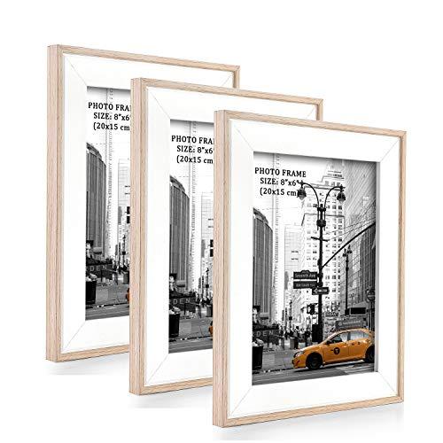 Metrekey 3er Set Bilderrahmen 15x20 cm Natur Holzmaserung aus MDF mit Echtglas Deko Fotorahmen für Foto Urkunden wandhängend oder freistehen