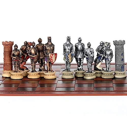 ZHENGXIN Juego De Ajedrez,Juego de ajedrez Edad Media Caballero Batalla Tema Juego de ajedrez Juego de Viaje portátil Juego de ajedrez Ajedrez temático de Lujo