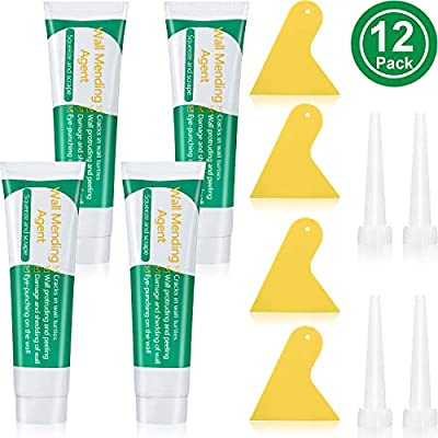 4 Sets Wall Mending Agent Kit, Include 4 Pieces 100 ml Wall Repair Cream Wall Surface Repair Paste with Nozzle Extenders and Scrapers for Quick and Easy Solution to Fill The Holes in Walls