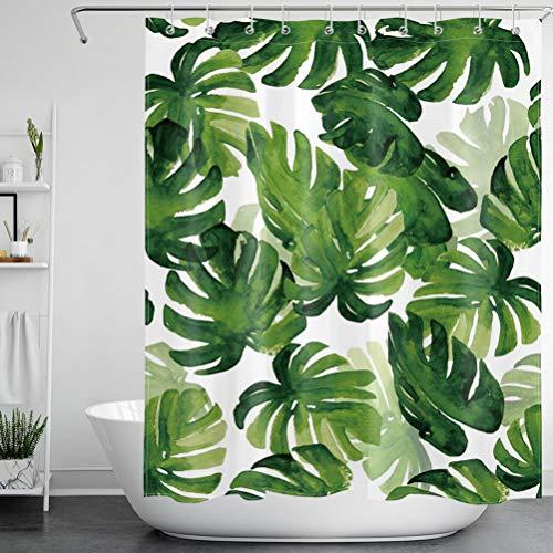 LB Duschvorhang Grüne Blätter 150x180CM Tropische Pflanzen Monstera Bad Vorhang Wasserdicht Polyester Stoff Anti-Schimmel Badezimmer Gardinen mit 12 Haken