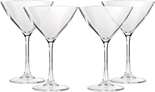 Lily's Home Unbreakable Acrylic Martini Glasses, Made of Shatterproof Plastic and Ideal for Indoor and Outdoor Use, Reusable, Crystal Clear (8.5 oz. Each, Set of 4)