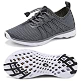 CIOR Kids Water Shoes Boys & Girls Quick Drying Sports Aqua Athletic Sneakers Lightweight Sport Shoes(Little Kid/Big Kid) U1ELJSX005-Grey-36