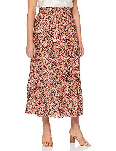 ONLY Damen Onlnova Life Long Skirt AOP WVN Rock, Cloud Dancer-Liberty, 40