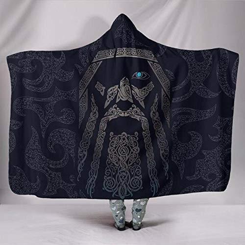 Viking Odin Kuscheldecke mit Kapuze,Winter Weich Wohndecke Kuscheldecke Schlafdecke Sofadecke Plüschdecke Pelzdecke Printdesign Couchdecke Mikrofaser Wearable Decke für Erwachsene Kind Blau 150*200cm