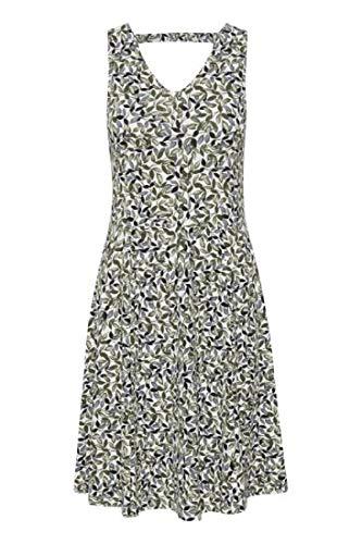 fransa Damen Kleid - Jersey Kleid mit Alloverprint, Mehrfarbig (Green Flowers 200189), 40 (Herstellergröße: L)