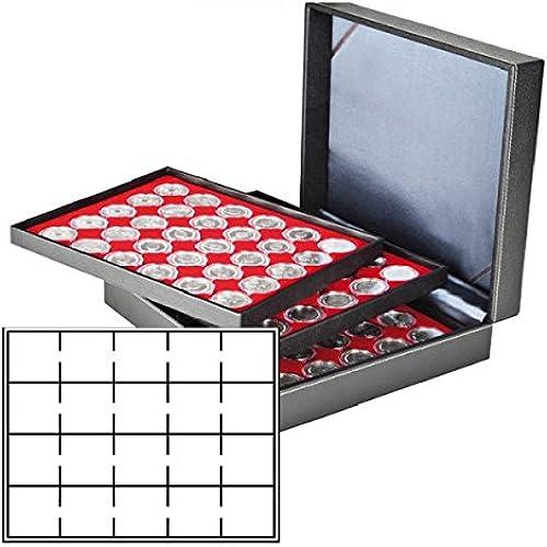Münzkassette NERA XL mit 3 Tableaus und hellroten Münzeinlagen für 60 Münzr chen 50x50 mm Münzkapseln CARRéE OCTO Münzkapseln