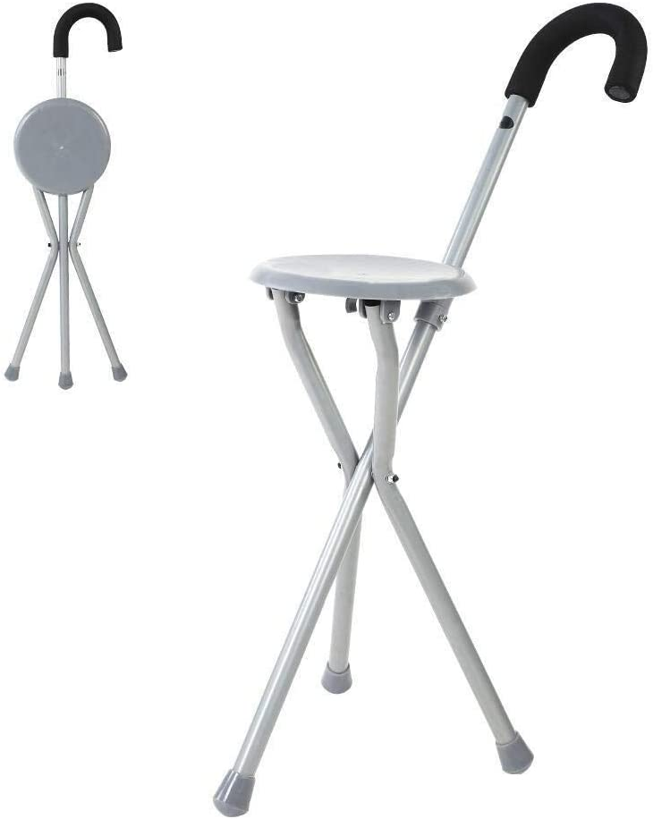 LIMEI-ZEN Gray Walking Stick Los Angeles Mall Chair Max 56% OFF Port Adjustable Metal Unisex