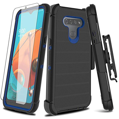 Leptech for LG K51 Case, for LG Q51 Case with Soft TPU Screen Protector, [Holster Series] Full Body Heavy Duty Protective Phone Cover with Kickstand Belt Clip Case for LG K51 / LG Reflect (Black)
