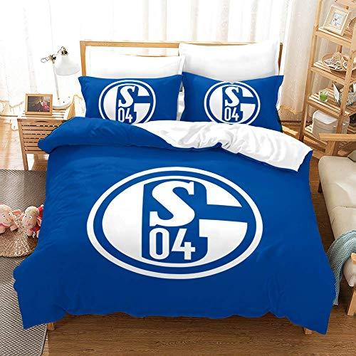 179 AOQIJIU Sport Bettbezug-Set, Schalke Bettwäsche-Set mit Reißverschluss Closer Und Corner Krawatten, Weich,260 * 220cm