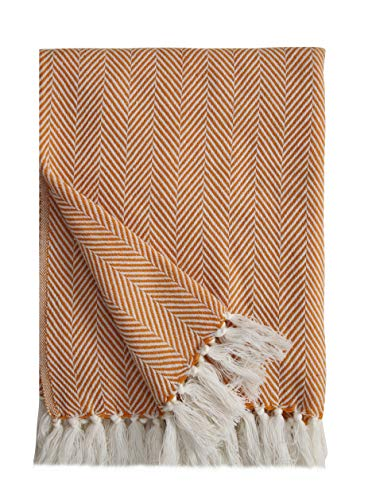 Ehc Herringbone Leichte, weiche, warme Acrylüberwürfe aus Wollgefühl für Sofadecke - Ocker