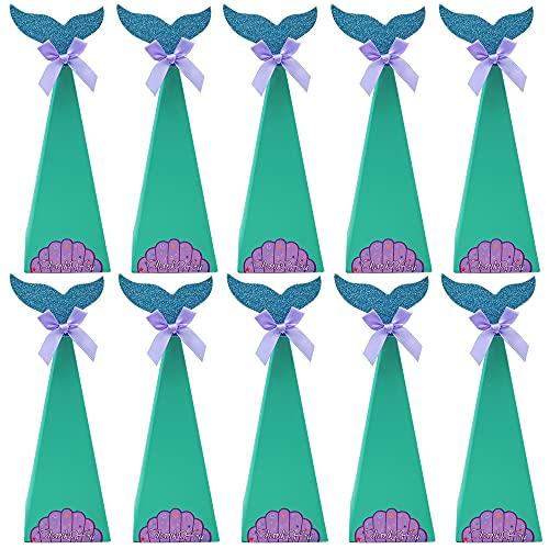 Cajas de Regalo de Sirena, 10 Piezas Cajas de Fiesta de Sirena, Bolsas de Regalo de Sirena, para Fiesta de Sirena, Suministros de Decoración para Bbaby Shower, Suministros de Boda