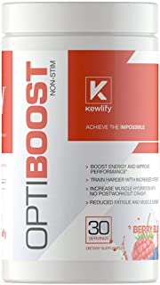 Kewlify OptiBoost Preworkout Supplement Nutrition Powder for Men and Women | Non Stimulant, Caffeine Free Formula | Top Muscle Builder, Gives You More Energy, Strength and Pump | 30 Servings
