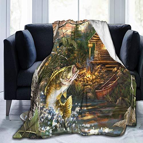 Nongmei Manta de Franela con patrón Personalizado,Cabaña de Madera,Granja,río de Barco de Pesca bajo con cabaña de Madera,Manta de Felpa Suave y cómoda 50'x60'