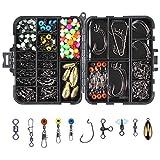 OKVGO - Juego de cajas de aparejos de pesca marina con múltiples accesorios de anzuelos, pesos de plomo, diferentes broches de presión giratorios de pesca, diapositivas de plomo