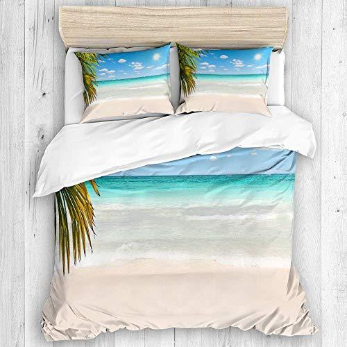 772 AQL Parure de lit avec Housse de Couette en Microfibre,Superbe Plage des Caraïbes avec de l'eau Transparente,1 Housse de Couette 240 x 260 CM + 2 Taies d'Oreillers 50 x 80 CM