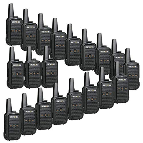 Retevis RT15 Walkie Talkies Long Range 16 Channel VOX Rechargeable Small Business Two Way Radios(20 Pack)