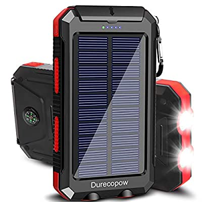Solar Charger, Durecopow 20000mAh Portable Outdoor Waterproof Solar Power Bank, Camping External Backup Battery Pack Dual 5V USB Ports Output, 2 Led Light Flashlight with Compass (Red)