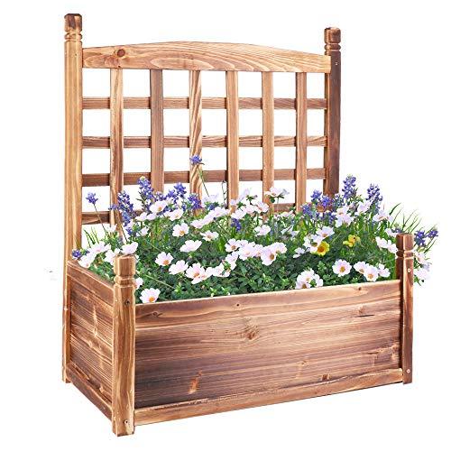 UNHO 大型プランター 木製 長方形 支柱 プランター付きフェンス ガーデニング 木箱 おしゃれ 北欧 屋外 ベランダ 野菜