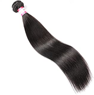 CYNOSURE Brazilian Straight Hair Weave 1 Bundle 8A Unprocessed Straight Virgin Human Hair Extensions Natural Black (18inch)