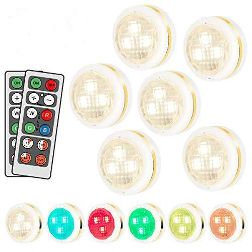 HOVNEE RGB Schrankleuchten LED Nachtlicht mit Fernbedienung 6er, 4 Zeitfunktionen, 10 Dimmstufen und 16 Farben, Verwendet als Schranklicht, Treppenlicht, Bodenbeleuchtung ect (Energieklasse A++)