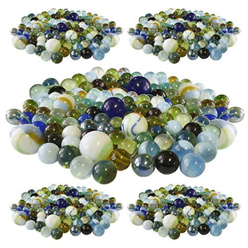 240 Stück Murmeln aus Glas bunt gemischt Glasmurmeln im Netz Knicker Glaskugeln Klicker große und kleine Glas-Murmeln zum Spielen und Sammeln Mitgebsel Kindergeburtstag