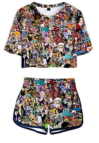 Hifoda Camiseta y Pantalones Cortos 3D para Mujer One Peice Conjuntos de Guerreros Piratas Luffy Zorro Traje Deportivo de Anime(XXL)