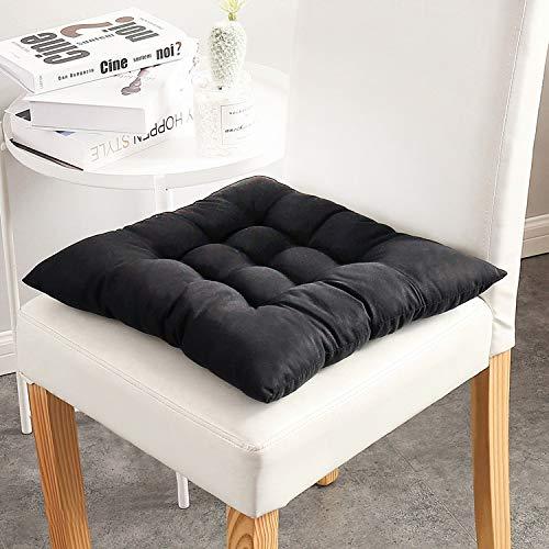 Juego de 6 cojines de silla con lazos cojines de asiento grises cojines de asiento marrón para silla de comedor 100% algodón cojines de silla con correas (40 x 40 cm)