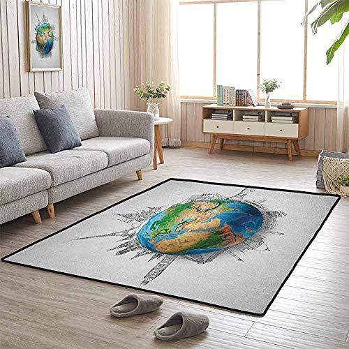LAURE Teppiche Globus des Planeten Erde Realistische Kontinente Geographie Thema Bleistiftskizze