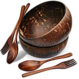 Boheter Natural Coconut Bowl Set of 2 Coconut Salad Bowls with Wooden Spoons & Forks, Organic Vegan Bowl Serving Bowl for Salad Smoothie Ice Cream Acai Cereal Breakfast 100% BPA Free, Eco-Friendly