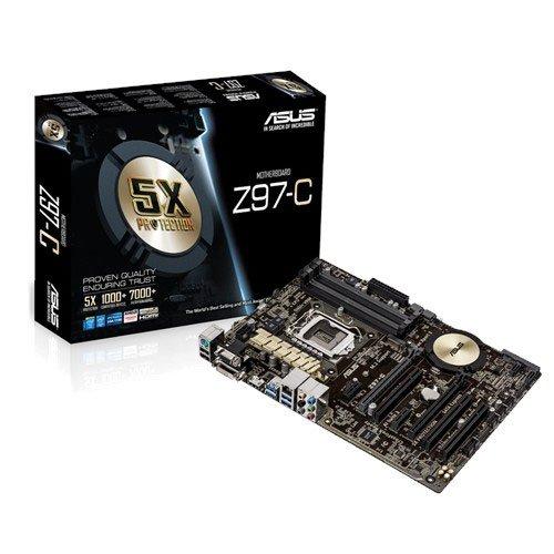 Asus Z97-C Mainboard Sockel 1150 (ATX, Intel Z97, 4x DDR3-Ram, 1x SATAe, 6x SATA ,1x PCIe 3.0 x16)
