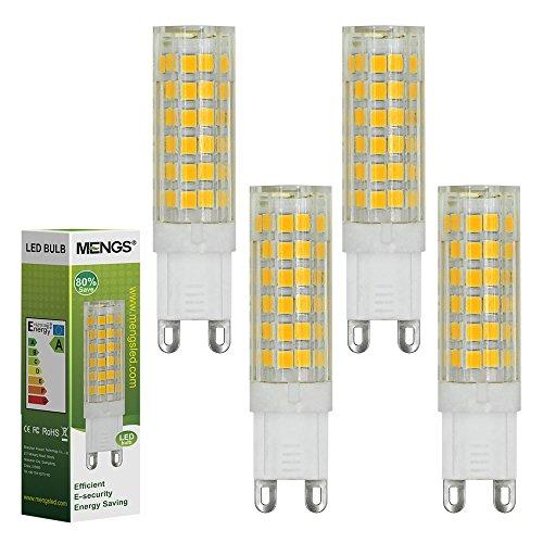 MENGS Pacco da 4 Lampadina LED G9 7W (equivalenti a 55W) Lampada a LED Bianco Caldo 3000K, AC 220-240V, 510LM Luce a LED