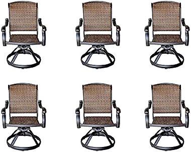 Santa Clara Cast Aluminum Set of 6 Swivel Rocker Patio Dining Chairs