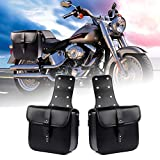 LEAGUE&CO Pair of Motorcycle Saddle Bag Set Medium Waterproof Insulated PU Leather Side Bag for Harley Sportster Softail Honda Suzuki Yamaha Cruiser