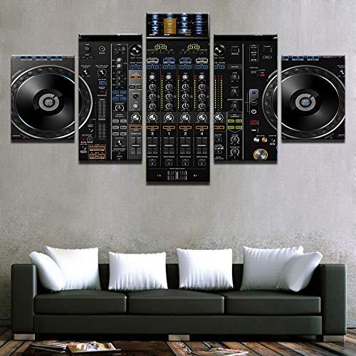 wqavten 5 stuk canvas Muziek DJ Console Instrument Mixer Schilderijen Prints Night Club Bar Posters -20x35 20x45 20x55cm-Frameless -20x35 20x45 20x55cm-frameless