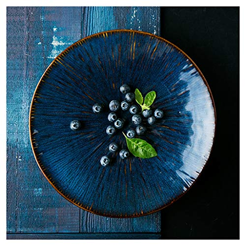 XIUXIU Plat européen en céramique créatif Utopia Plat à steak occidental Plat à pâtes Plat à salade aux fruits Assiette à plat (Taille : 27.5x2.7)