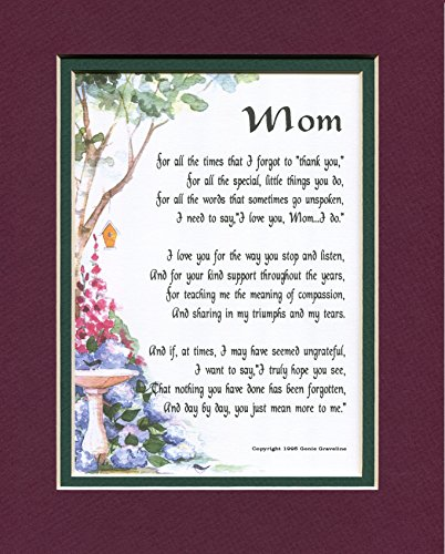 Mom Poem- Mother Poem- Mom Print- Mother Print-Mom Verse- Mother Verse- Mom Saying- Mother Saying- 8x10 Double-Matted Print- Moms Birthday- Mothers Birthday