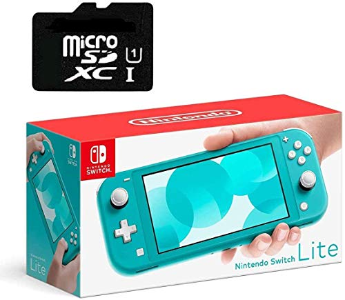 Newest Nintendo Switch Lite Game Console, 5.5' LCD Touchscreen Display, Built-in Plus Control Pad, W/Hesvap 128GB Micro SD Card, Built-in Speakers, 3.5mm Audio Jack, Turquoise Blue
