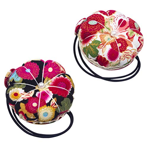 WIFUN 2 Pieces Needle Pin Cushion, Pumpkin Sewing Pin Cushion Wrist Strap Wearable Needle Pincushions for Sewing Accessories or DIY Crafts