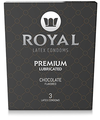 Royal Ultra-Thin Latex Condoms - Chocolate Flavored and Lubricated - Strong, FDA Approved Non-Toxic Latex - All Natural, Organic, Vegan, No Cruelty Contraceptive - Snug Fit, Accurate Sizing - 3 Pack