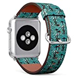 Compatible with Small Apple Watch 38mm & 40mm (All Series) Leather Watch Wrist Band Strap Bracelet with Stainless Steel Clasp and Adapters (Sea Anchors Nautical)