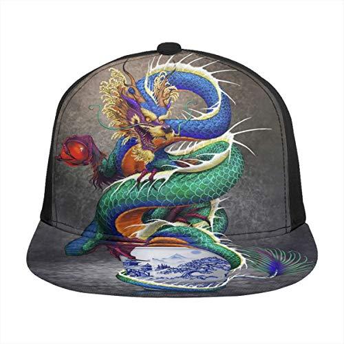 Dreamfy Unisex Baseball Cap Chinese Dragon Noble Monster Chinoiserie 3D Printing Snapback Caps Adjustable Mesh Hat Trucker Hats