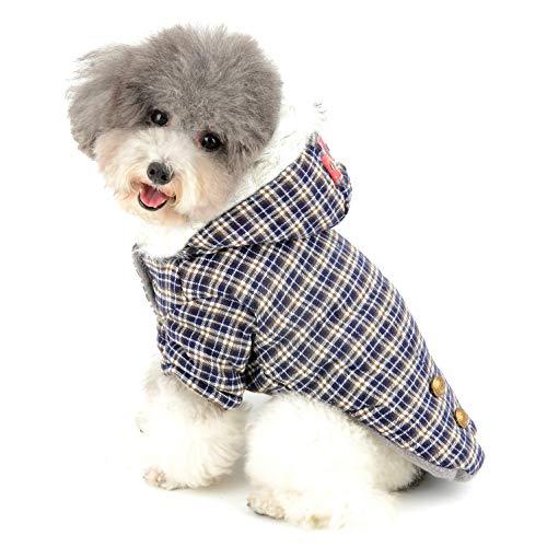 Ranphy Plaid Hundemantel für Kleine Hunde Hundejacke Winterjacken Wintermantel Hunde Mantel Winter Herbst Fleece Welpenmantel Yorkshire Terrier Haustier Kleidung Katze Bekleidung Blau L