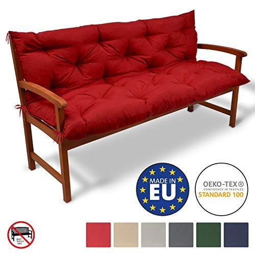 Beautissu Bench Pad Flair BR Comfortable Cushion 120 x 50 x 50 cm 2 Seater Garden Bench Cushion& Backrest Graphite Grey