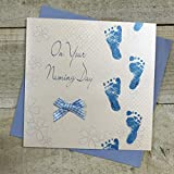 Cotone Bianco Carte Blu Footprints On Your Naming Day Handmade Naming Day Card, Bianco