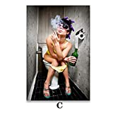 mmzki Estilo Moderno Mujer Pintura de Lienzo Bar Chica Salvaje Fumar y Beber en el baño Arte de la Pared Pintura de la Imagen Cartel e impresión