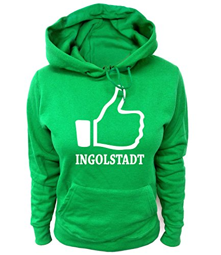 Artdiktat Damen Hoodie - I like Ingolstadt , Größe XL, grün